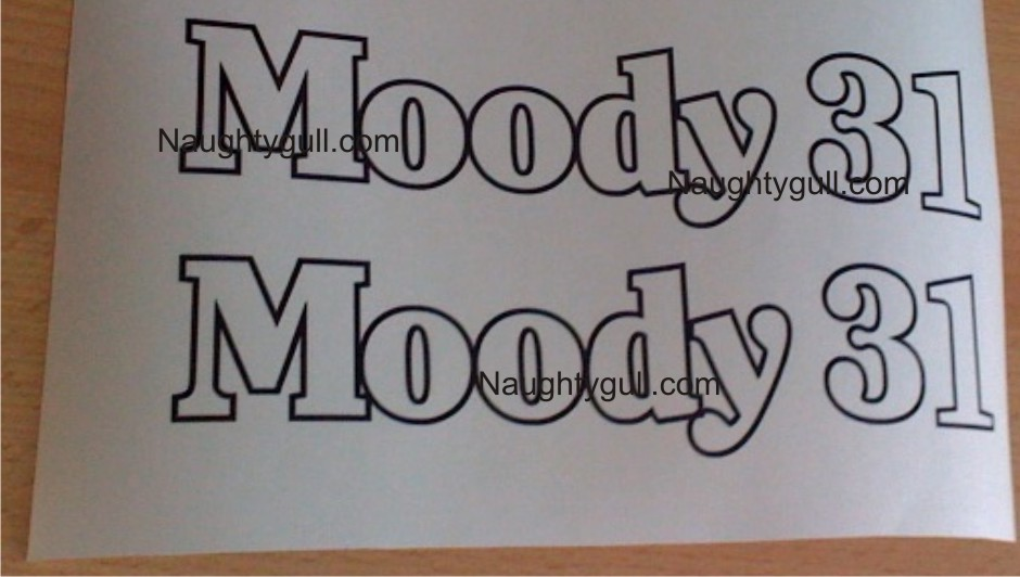 Moody 31 Ultima MK2 Decals. 1 pair of 31 hull decals in black